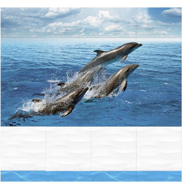 Панель ПВХ Кронапласт Дельфины 3D (рисунок 4 шт.) 2700*250*8