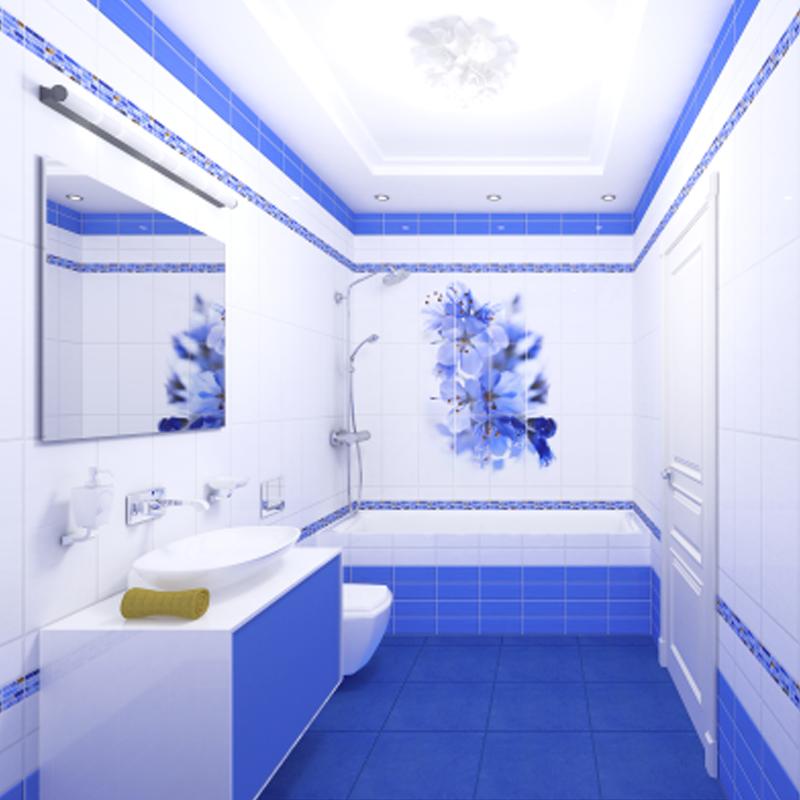 Стеновая панель Панда Синий цветок